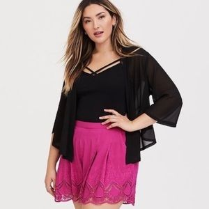 Torrid Pink Lace Embroidered Rayon Shorts